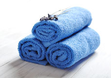 Blue spa towels pile Stock Images