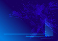 Blue Space Background. Dark blue background, abstract shapes, space, debris, horizontal lines stock illustration