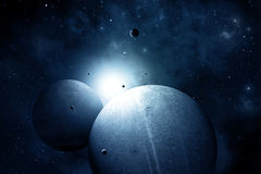 Blue Space Background. Blue deep space abstract imaginary illustration with planets and moons Royalty Free Stock Photo