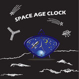 Blue space clock Royalty Free Stock Image