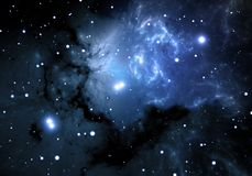 Blue space nebula Stock Images