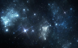 Blue space nebula Stock Photo
