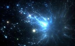 Blue space nebula Stock Photos