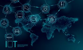 Blue space planet Earth internet of things icon innovation technology concept. Wireless communication network IOT ICT. Intelligent system automation modern AI stock illustration