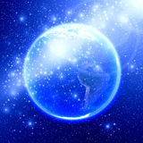 Blue space with the world Royalty Free Stock Photo