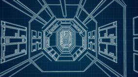 Blue spaceship blue print vorridor