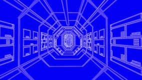 Blue spaceship blue print corridor