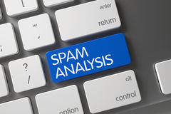 Blue Spam Analysis Keypad on Keyboard. 3D. Royalty Free Stock Photo