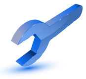 Blue spanner symbol Stock Image