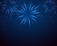 Blue sparkle fireworks. On dark background, illustration Stock Photography