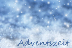 Blue Sparkling Christmas Background, Snow, Adventszeit Means Advent Season Stock Image