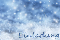 Blue Sparkling Christmas Background, Snow, Einladung Means Invitation Stock Photos