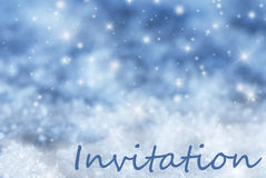 Blue Sparkling Christmas Background, Snow, Text Invitation Royalty Free Stock Photography