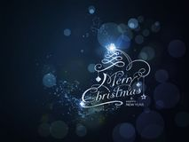 Blue sparkling Merry Christmas and Happy New Year typography Royalty Free Stock Images
