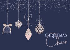 Blue Sparkly Bauble Christmas Cheer Card. Minimal blue Christmas cheer card with sparkly gold and blush pink holiday baubles royalty free illustration