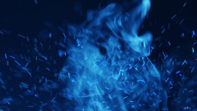 Blue sparks and flowing smoke. Magic Burst with fairy dust Royalty Free Stock Images