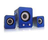 Blue speakers. For using on computer Stock Photo