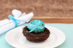 Blue Speckled Easter Egg Stock Photo
