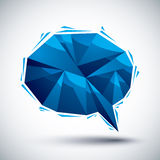 Blue speech bubble geometric icon made in 3d modern style, best. For use as symbol or design element Stock Illustration