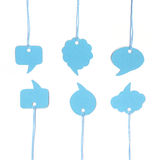Blue speech bubble hanging Royalty Free Stock Photos