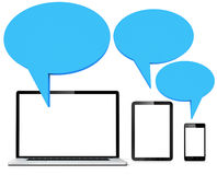Blue speech bubble with laptop  table and phone Stock Images