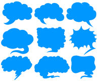 Blue speech bubbles in different shapes Stock Photos