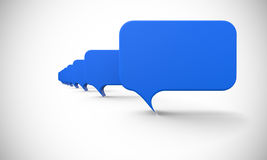 Blue speech bubbles in a row vector illustration