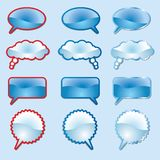 Blue speech clouds Royalty Free Stock Images