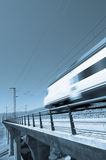 Blue speed train. With clear sky Royalty Free Stock Photography