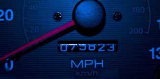 Blue Speedometer Tachometer Night Shot Stock Photos