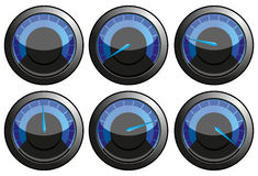 Blue speedometers. Set of blue speedometers for car or power or thermometers,  illustration additional Stock Photos