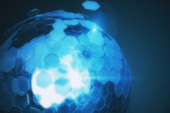 Blue sphere. Abstract cellular blue sphere on dark background. Technology concept. 3D Rendering Stock Photo