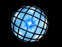 Blue sphere on black Stock Images