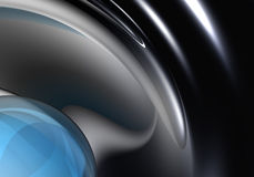 Blue sphere in chrom Stock Images