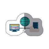 Blue sphere with connect to laptop and file inside cloud. Vector illustration Stock Images
