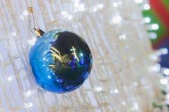 Blue sphere on Cristmas tree Stock Photo