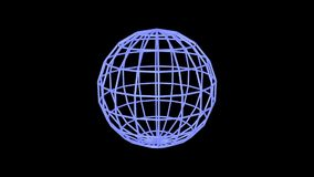Blue sphere edges rotating stock footage
