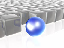 Blue sphere and grey cubes. As abstract background, 3D illustration Royalty Free Stock Photography