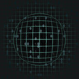 Blue sphere in grid with binary code background Stock Photo