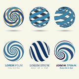 Blue sphere logo, swirl symbol, spiral ball Stock Photography