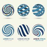 Blue sphere logo, swirl symbol, spiral ball. Business logo, blue sphere, swirl symbol, spiral ball template - vector illustration stock illustration