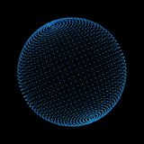 Blue sphere. Network connections with dots on black background. In technology concept. 3d illustration Royalty Free Stock Images