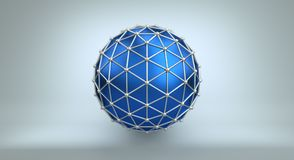 Blue sphere and polygonal wireframe 3D illustration. Blue sphere shape and polygonal metalic wireframe. Abstract 3D illustration rendered with DOF Stock Photography