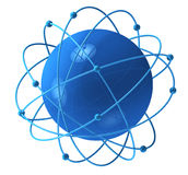 Blue sphere with satellites. Blue sphere with satellite orbits around it Royalty Free Stock Photo