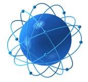Blue sphere with satellites. Blue sphere with satellite orbits around it stock illustration