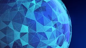 Blue sphere shape with connection lines for technology concept. 3d abstract illustration Royalty Free Illustration