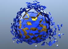 Blue Sphere Shattered Abstract 3d isolated. On background Royalty Free Stock Photography