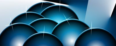 Blue spheres background with bright gradient and blur effects stock photography