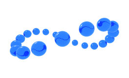 Blue spheres orbiting. 3d image Royalty Free Stock Photo