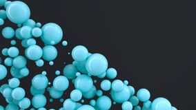 Blue spheres of random size on black background. Abstract background with circles. Cloud of circles in front of wall. 3D rendering illustration Vector Illustration